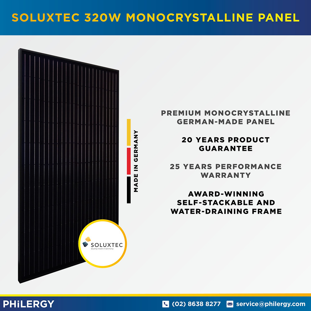 PHILERGY German Solar - Soluxtec 320W Monocrystalline Solar Panel -  High quality solar panel packages and installations for residential and commercial rooftops in the Philippines