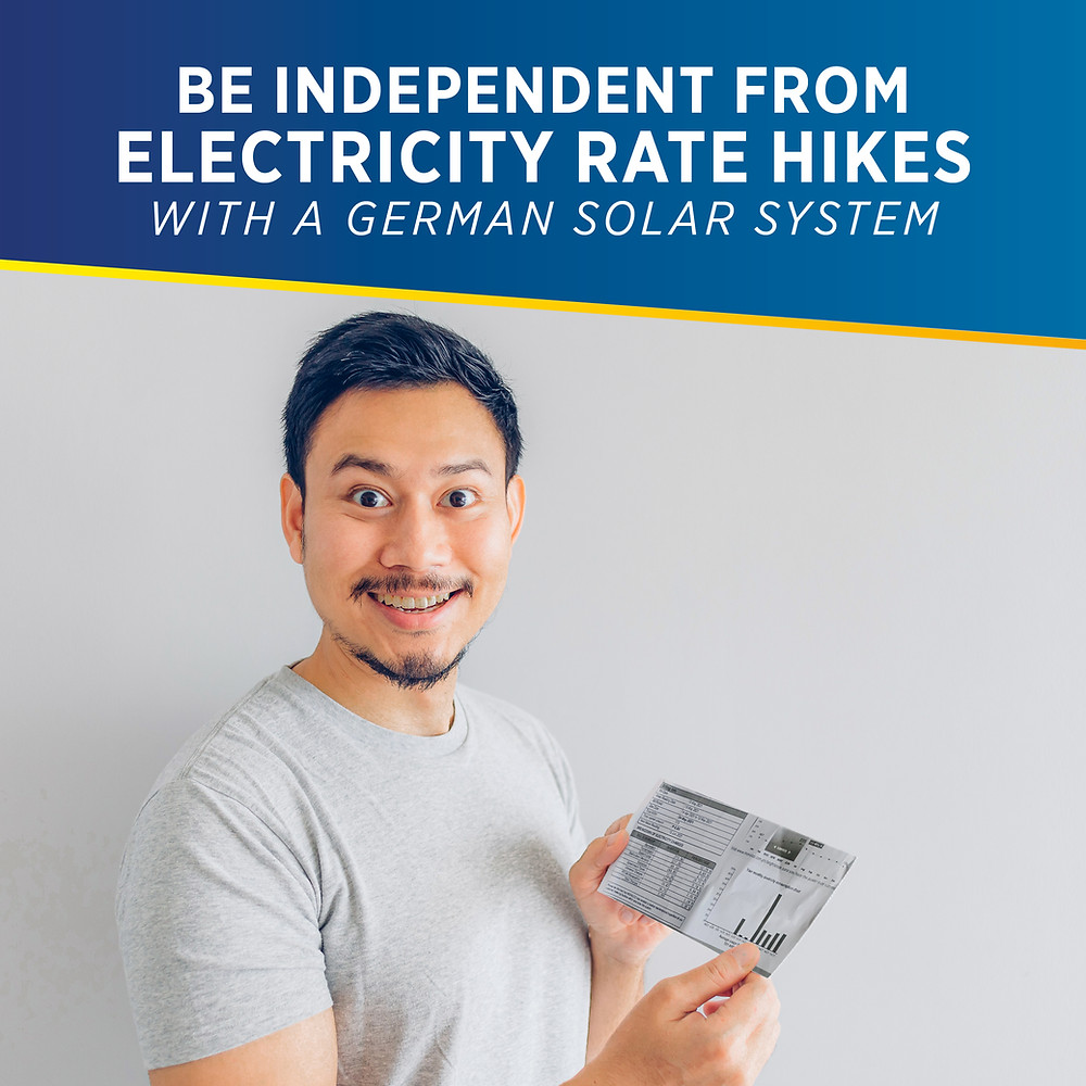 PHILERGY German Solar for homes and businesses - Be Independent from Electricity Rate Hikes - High quality installer for solar power systems and top rated panel packages for residential, commercial and industrial roofs in the Philippines