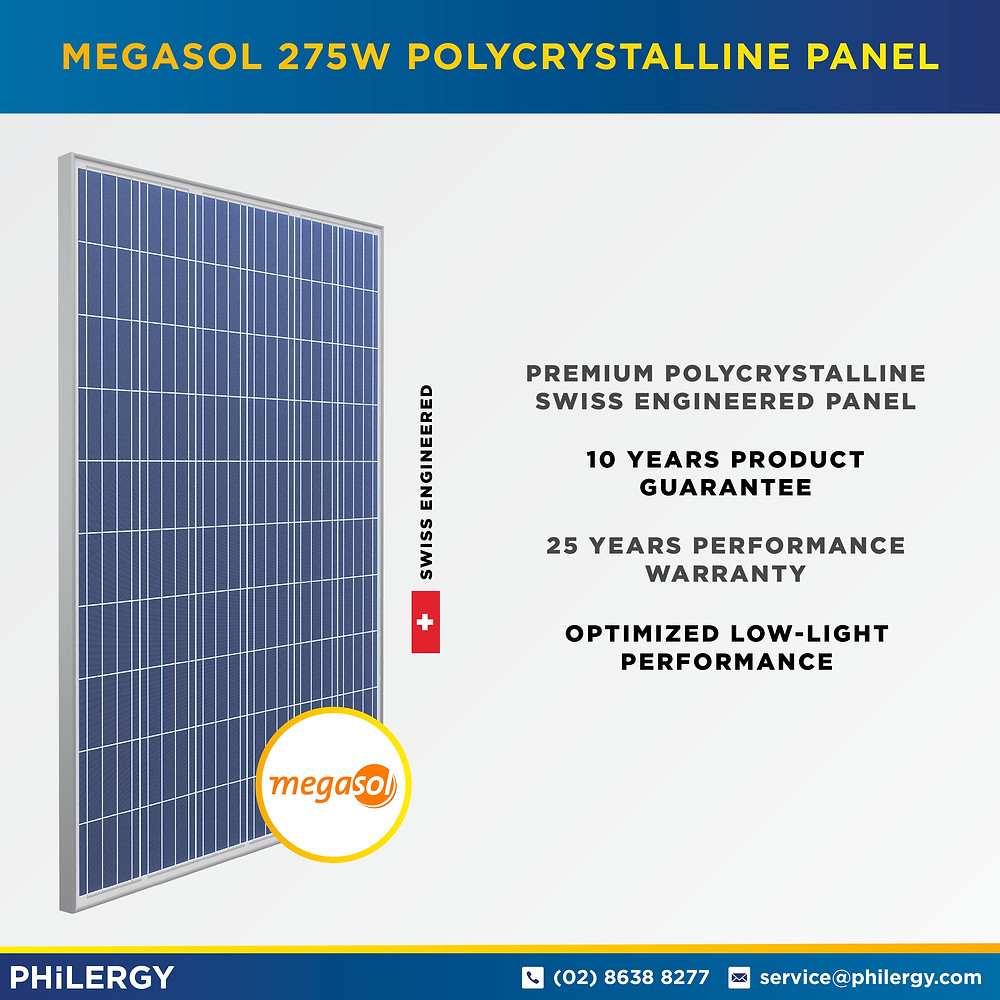 PHILERGY German Solar - Megasol 275W Polycrystalline Solar Panel -  High quality solar panel packages and installations for residential and commercial rooftops in the Philippines