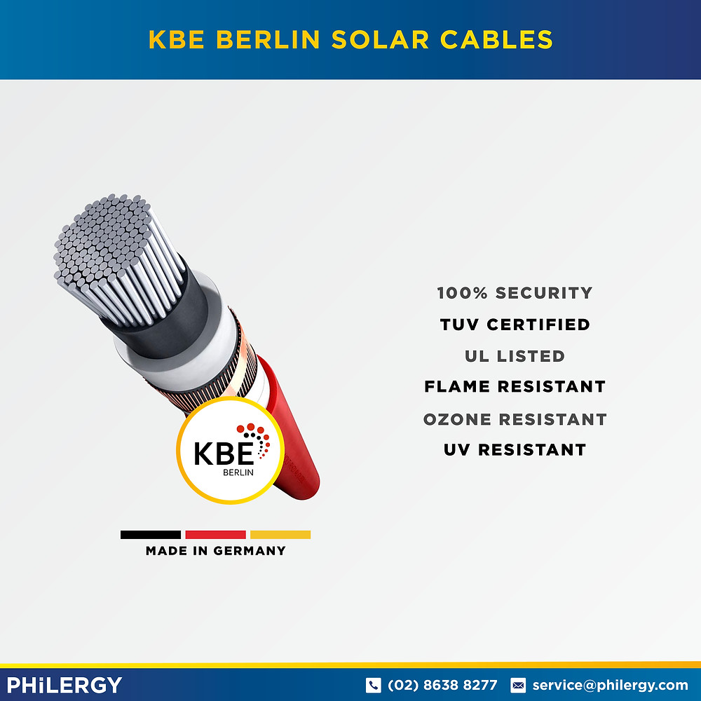 PHILERGY German Solar - KBE Berlin Solar Cables -  High quality solar panel packages and installations for residential and commercial rooftops in the Philippines