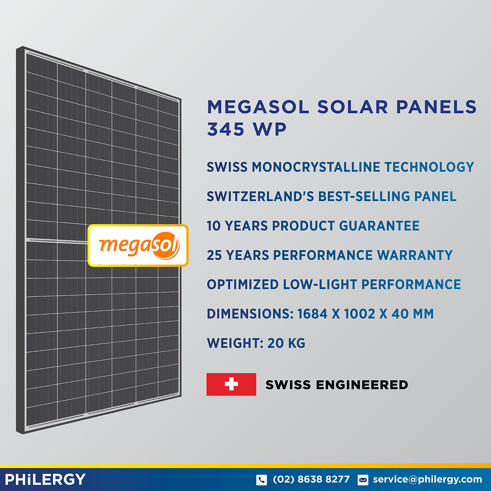 PHILERGY German Solar for homes and businesses - Megasol 345wp Solar Panel - High quality installer for solar power systems and top rated panel packages for residential, commercial and industrial roofs in the Philippines