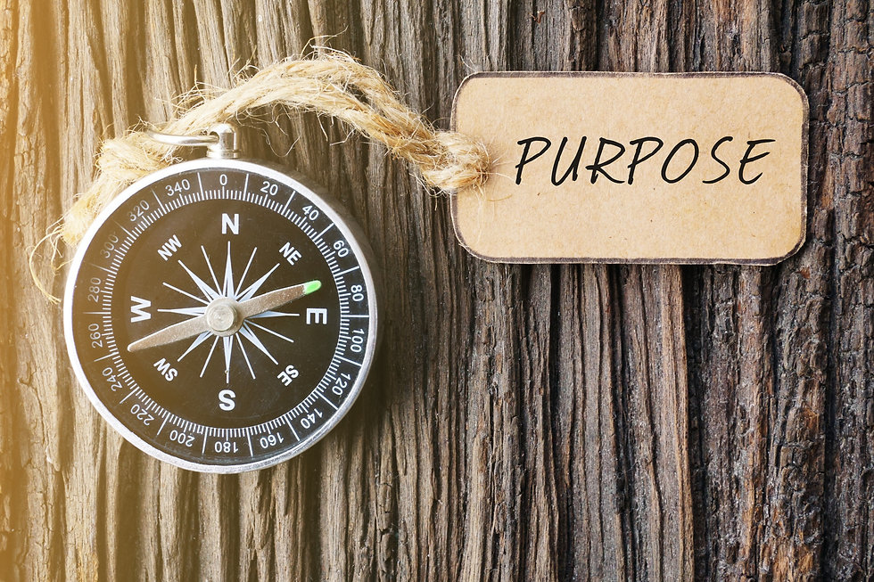 PURPOSE text written on paper tag with magnetic compass on old wooden background. A concept._edited.