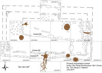 Mapa de las excavaciones de la Estructura 151-1