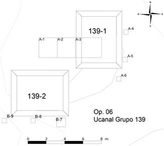 Plano de las excavaciones realizadas en el Grupo 139