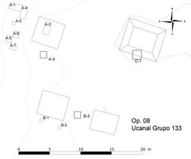 Ubicaciónes de las unidades de excavaciones, Grupo 133 (Op.8)