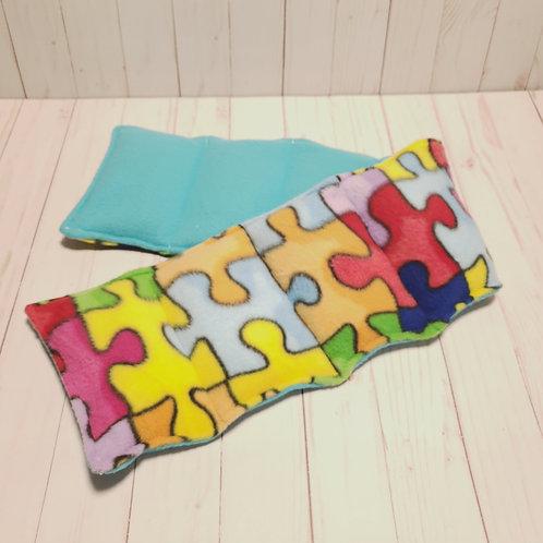 3lbs, 7x30in, Fleece Puzzle & Fleece Blue