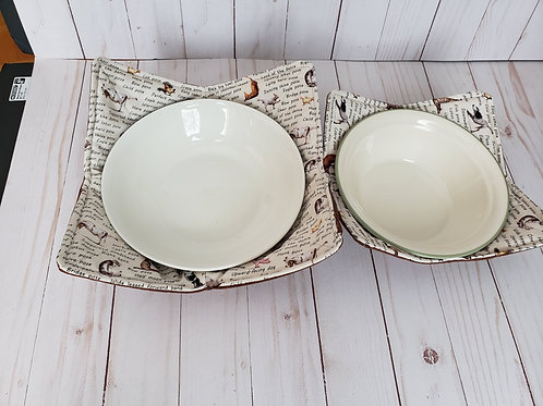 Microwave Bowl Cozy Set of two, soup cozy, home warming gift, reversible