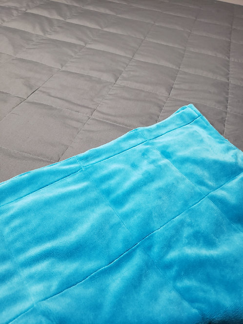 15lbs, 42x66 inches, Turquoise Chenille & Dark Grey Poly/Cotton Blanket