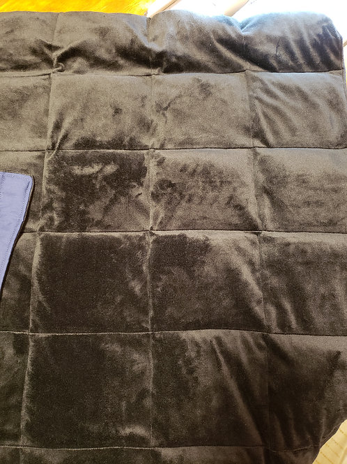 weighted blanket laying flat with square pockets sewn on black chenille