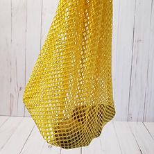 yellow mesh bag holding 2 potatoes