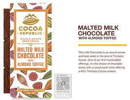 Malted Milk Chocolate Picture, made from deicious trinitario chocolate, World Famous Cocoa Republic Logo, Trnitario Chocolate K. M Imports,  Trusted Canadian importer of goods from the caribbean and international food products. Supplier for major grocers of caribbean, west Indian,  staples. Products include solo beverages, rice, sugar, flour, spices and seasonings, chocolates, trinitario chocolate. Proud Distributor of Quality Caribbean & International Food Products. Canada's number one choice. Distributor of green seasonings, hot pepper, red mango, Amita Brand, Karibbean flavours, Peardrax, Lion Brand, Patsy's Channa. Professional Service and excellent customer service. Supplier of the quality imports from the caribbean.