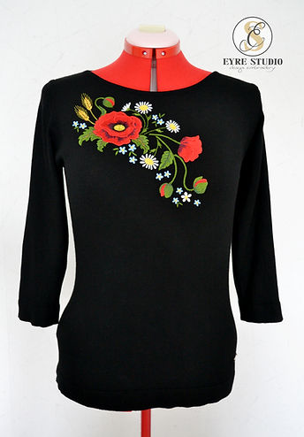 poppy flower embroidery design on the knitwear sweater