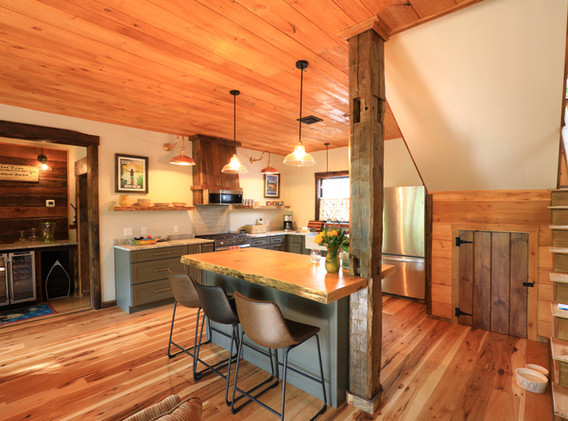 Full Kitchen with granite leathered countertops & wood island