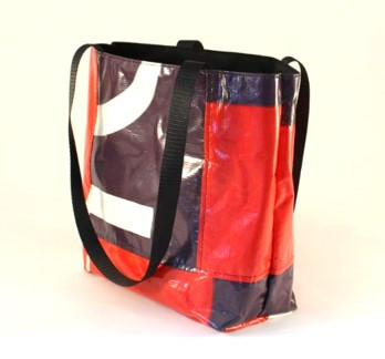 Red and black side tote