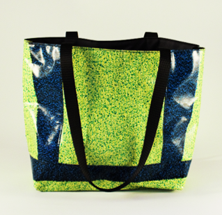 Green and blue tote
