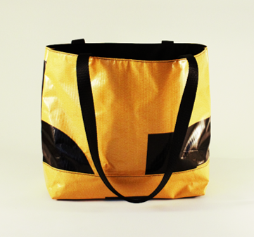 Yellow and black tote