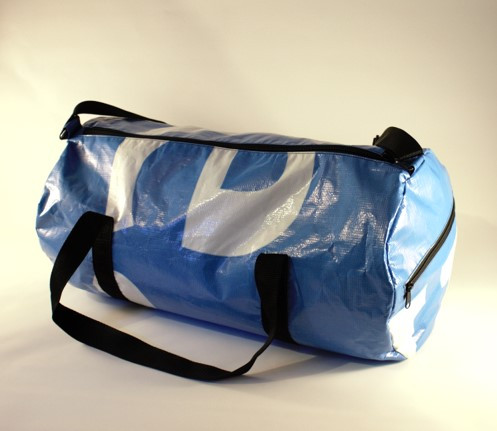 Blue and white duffel