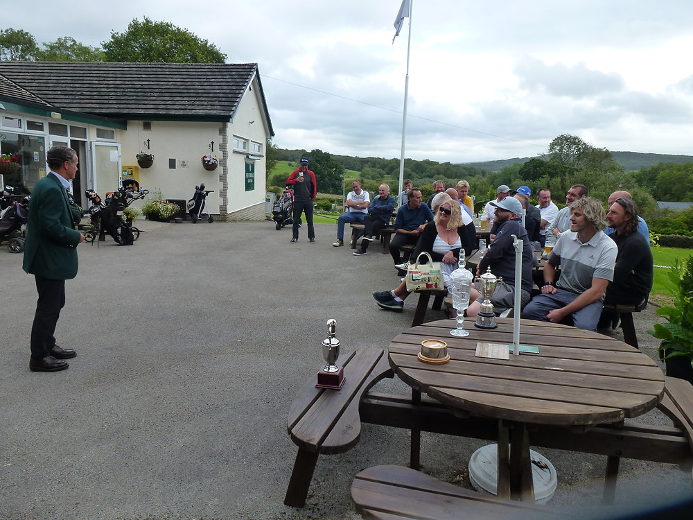 Members awaiting the Prize Presentation of the Club Championship Divisions 1 & 2 along with the Rabbits Championship