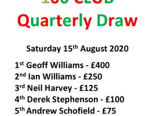 '100' Club 3rd Quarter Draw 15.08.20