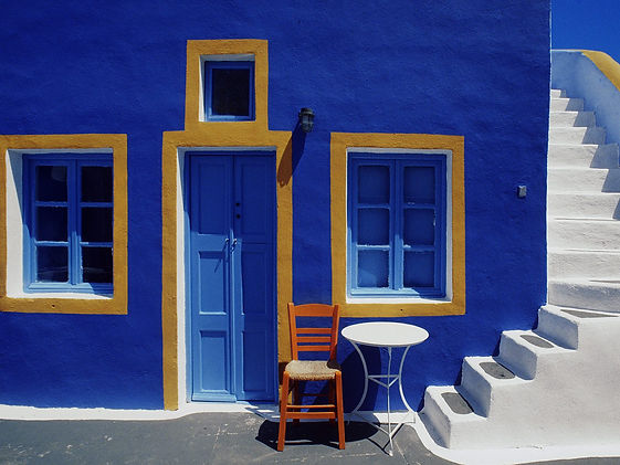 Blue and yellow Greek style in Samos, Greece