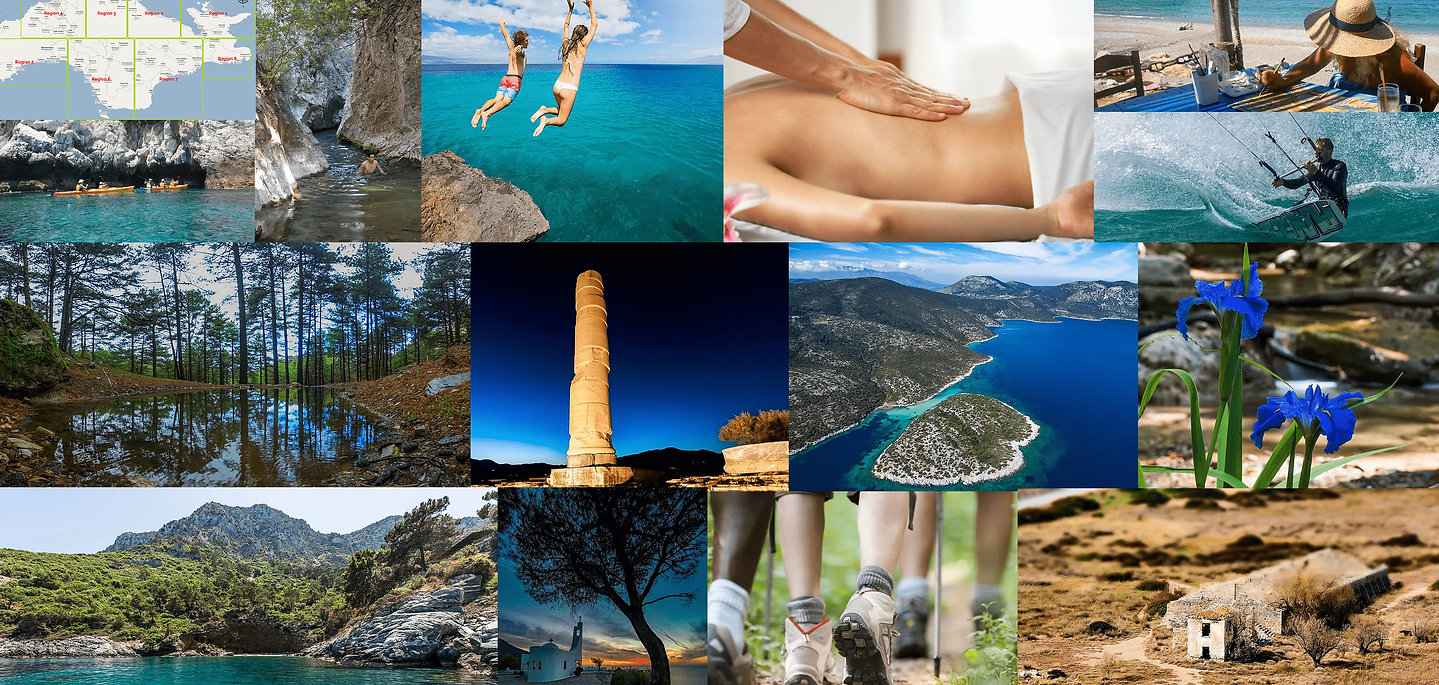 Colage with unique experiences you can have in Samos, Greece