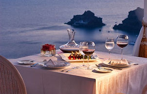 Table being set for romantic dinner