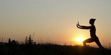 Tai chi on the sun set