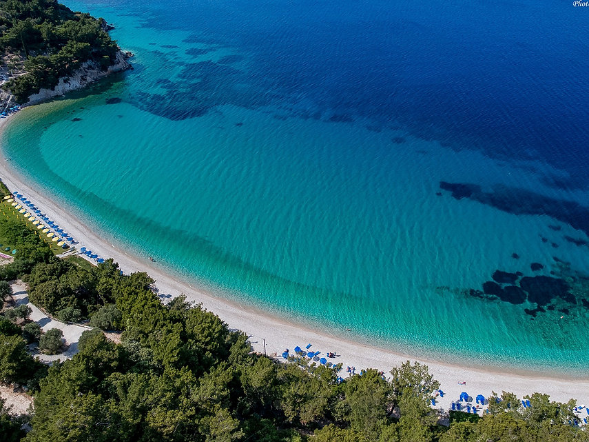 Drone view of Tsamadoy beach in Samos, Greece