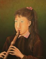 Tochter Monika mit Flöte