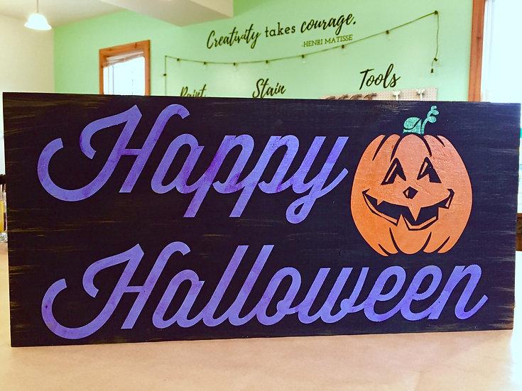 Happy Halloween Wood Sign