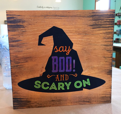 Captivating Halloween Sign   Say Boo And Scary On Witch Hat