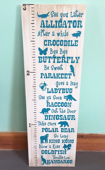 See you later alligator growth chart ruler sign