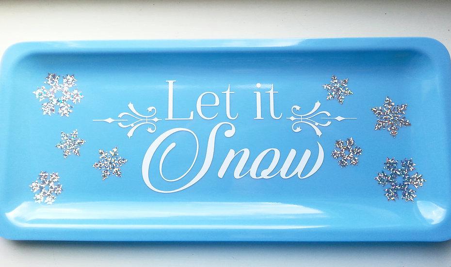 Let it Snow Decorative Winter Platter