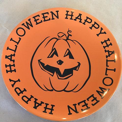 Happy Halloween Decorative Pumpkin Plate