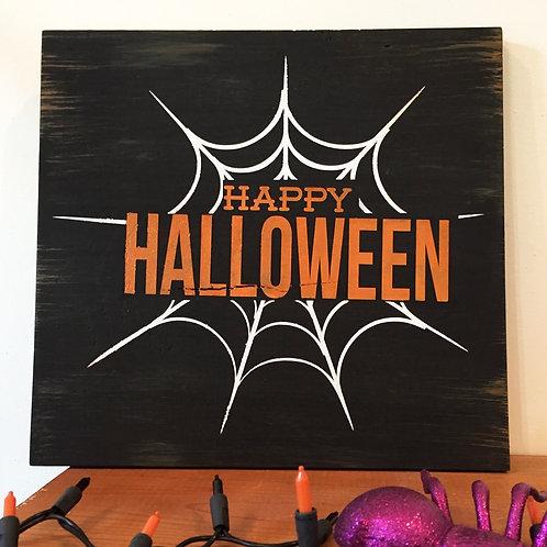 Happy Halloween Spider Web Handmade Wood Sign