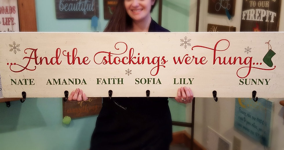 Custom Stocking Hanger Sign - Christmas Decoration