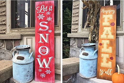 Let it Snow - Happy Fall Y'all Reversible Double Sided Sign