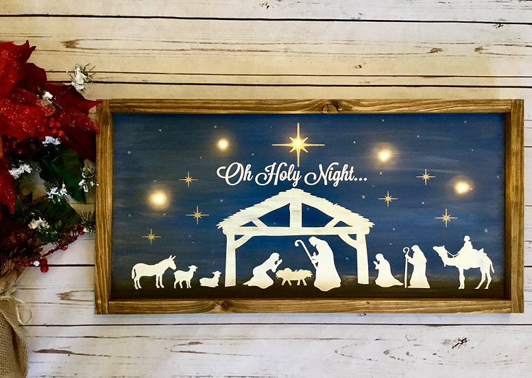 Oh Holy Night Nativity Lighted Sign