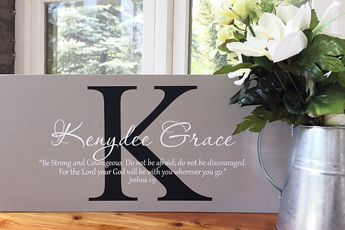 Custom Name Sign with Bible Verse