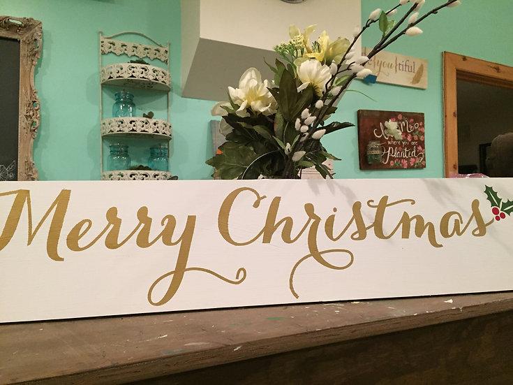 Merry Christmas Rustic Wood Sign - Christmas Decor
