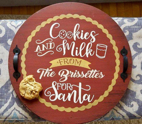 Cookies And Milk For Santa Tray Christmas Wood Sign