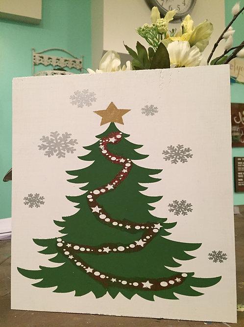 Christmas Tree Wood Sign