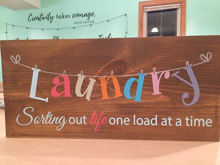 Laundry Sorting out life one load at a time wood sign