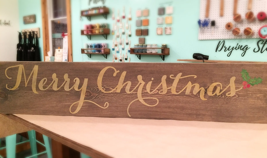 Merry Christmas Rustic Wood Sign - Christmas Decor
