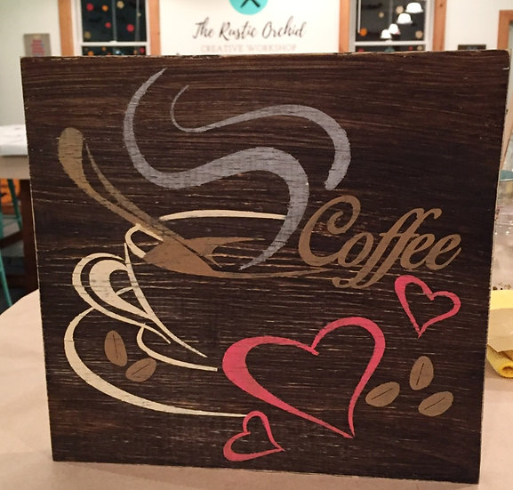 Coffee Rustic Wood Sign