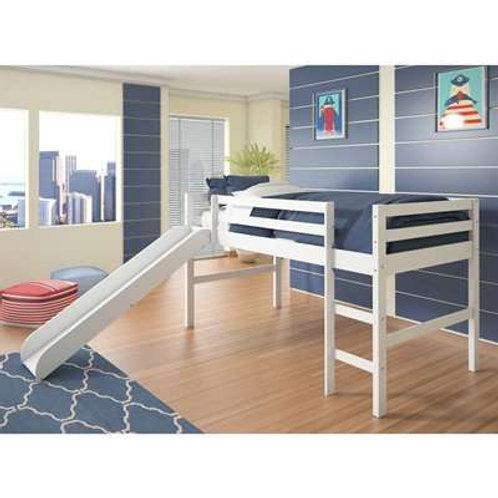 White Twin Loft Bed W/ Slide