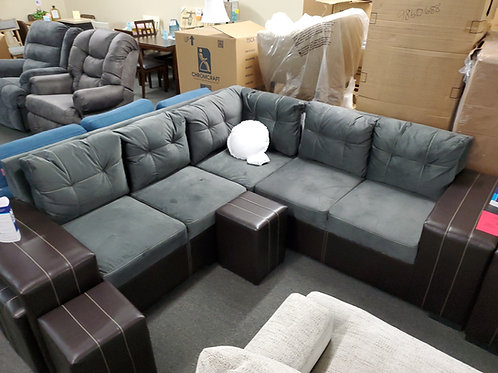 Grey brown sectional w/ 4 ottomans