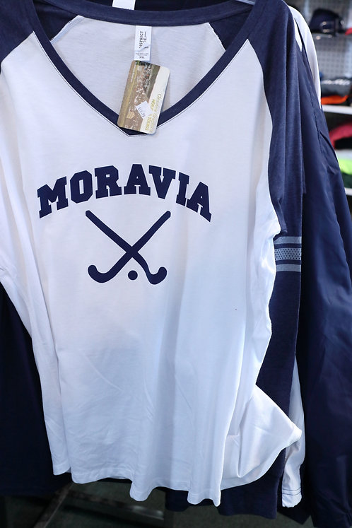 Ladies Game Long Sleeve V-Neck Tee with Moravia Field Hockey design