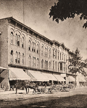 Jennings and Peacock blocks, 1880's. 151 Main Street is the 3rd building from the left.