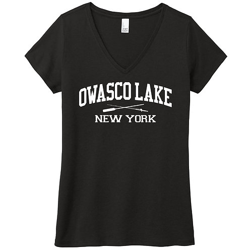 Owasco Lake Rod & Paddle Ladies V-Neck T-Shirt